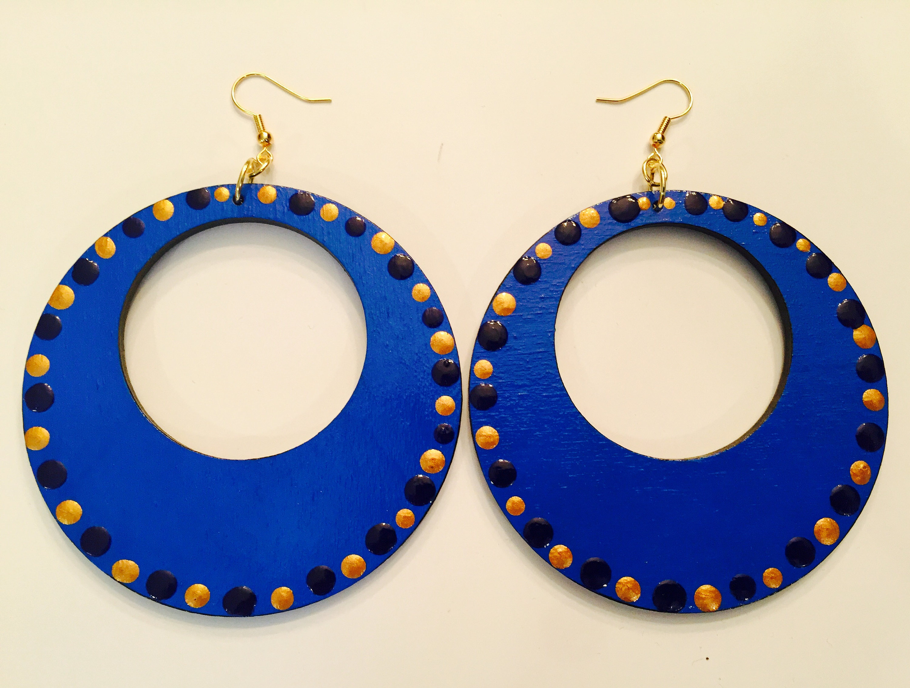 gold dots wood product blue with and painted earrings large hand accented